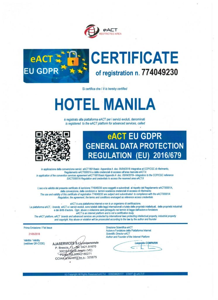Certificato eACT EU GDPR